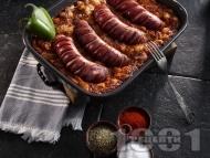 Рецепта Запечен боб с наденица